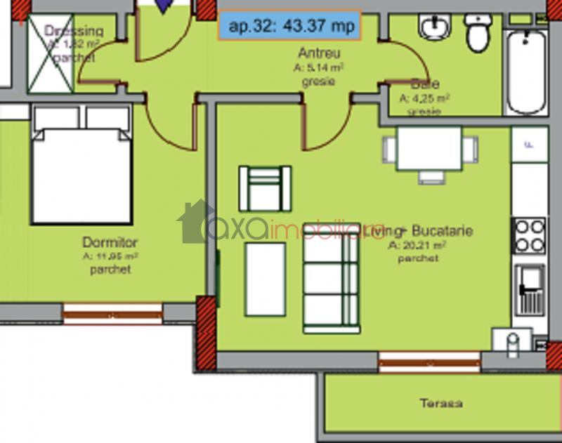 Apartment 2 rooms for  sell in Cluj Napoca, Intre Lacuri ID 2491