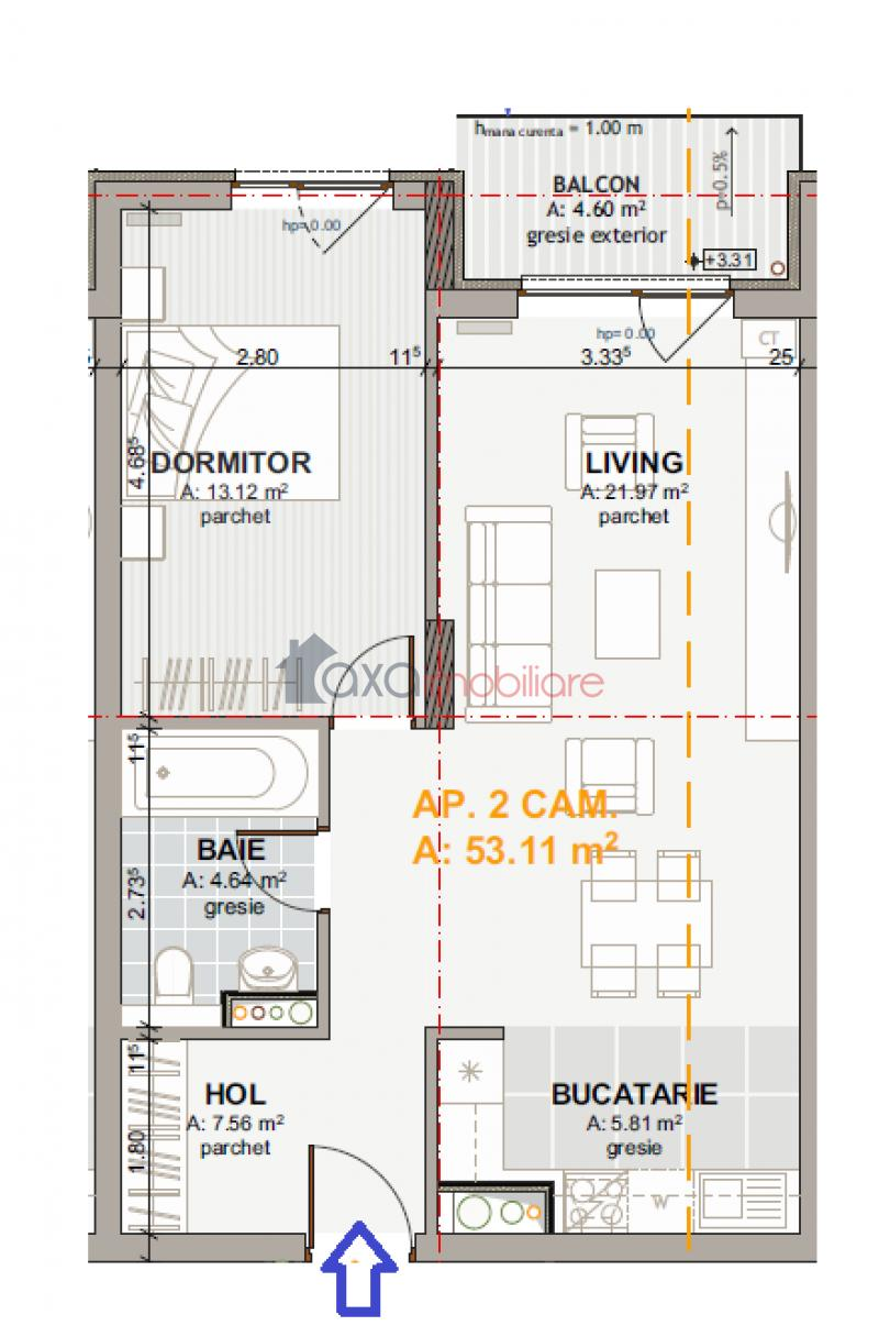 Apartment 2 rooms for  sell in Cluj-napoca, Marasti ID 4706